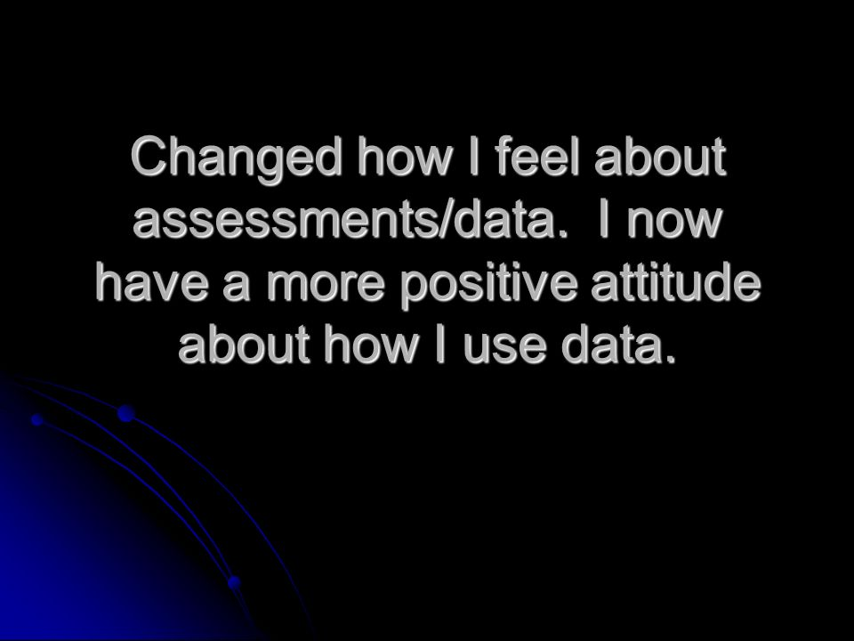 Changed how I feel about assessments/data.