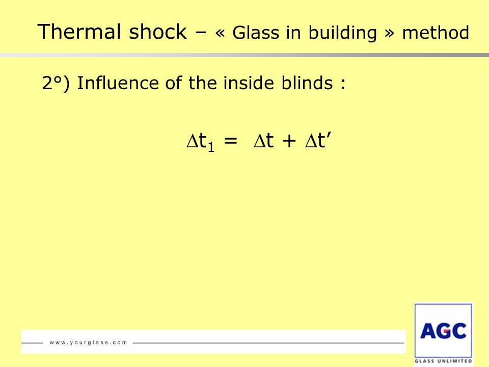 2°) Influence of the inside blinds : t 1 = t + t Thermal shock – « Glass in building » method