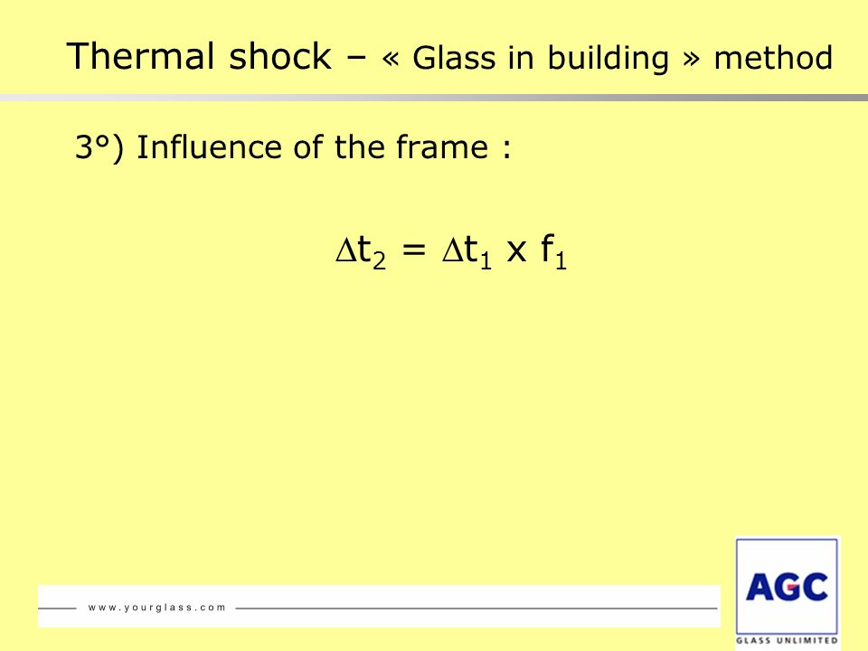 3°) Influence of the frame : t 2 = t 1 x f 1 Thermal shock – « Glass in building » method