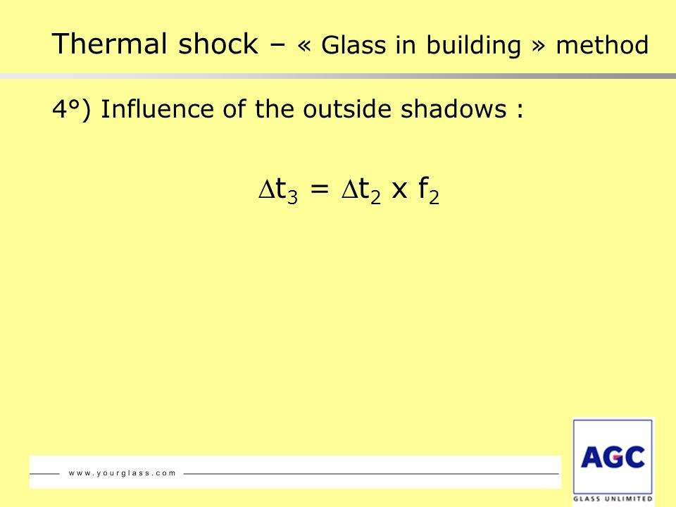 4°) Influence of the outside shadows : t 3 = t 2 x f 2 Thermal shock – « Glass in building » method