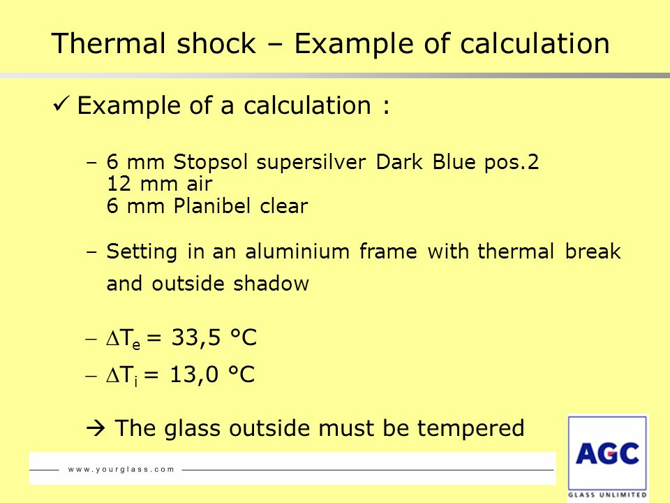 Example of a calculation : –6 mm Stopsol supersilver Dark Blue pos.2 12 mm air 6 mm Planibel clear –Setting in an aluminium frame with thermal break a