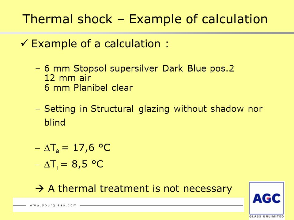 Example of a calculation : –6 mm Stopsol supersilver Dark Blue pos.2 12 mm air 6 mm Planibel clear –Setting in Structural glazing without shadow nor b