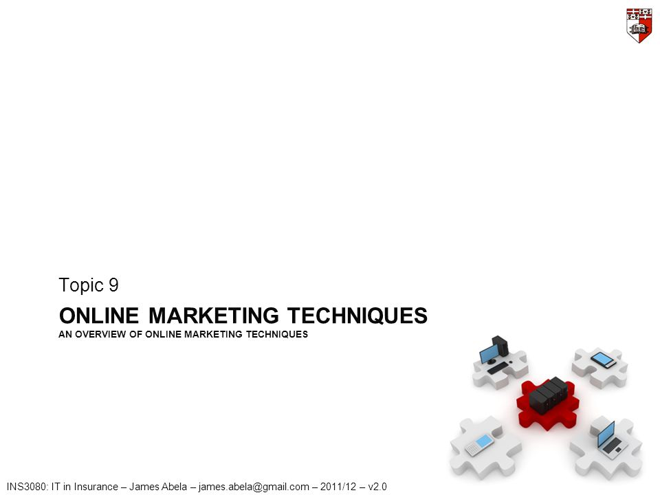 INS3080: IT in Insurance – James Abela – james.abela@gmail.com – 2011/12 – v2.0 ONLINE MARKETING TECHNIQUES AN OVERVIEW OF ONLINE MARKETING TECHNIQUES Topic 9