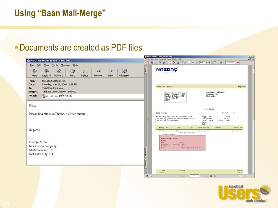 10 Using Baan Mail-Merge Documents are created as PDF files