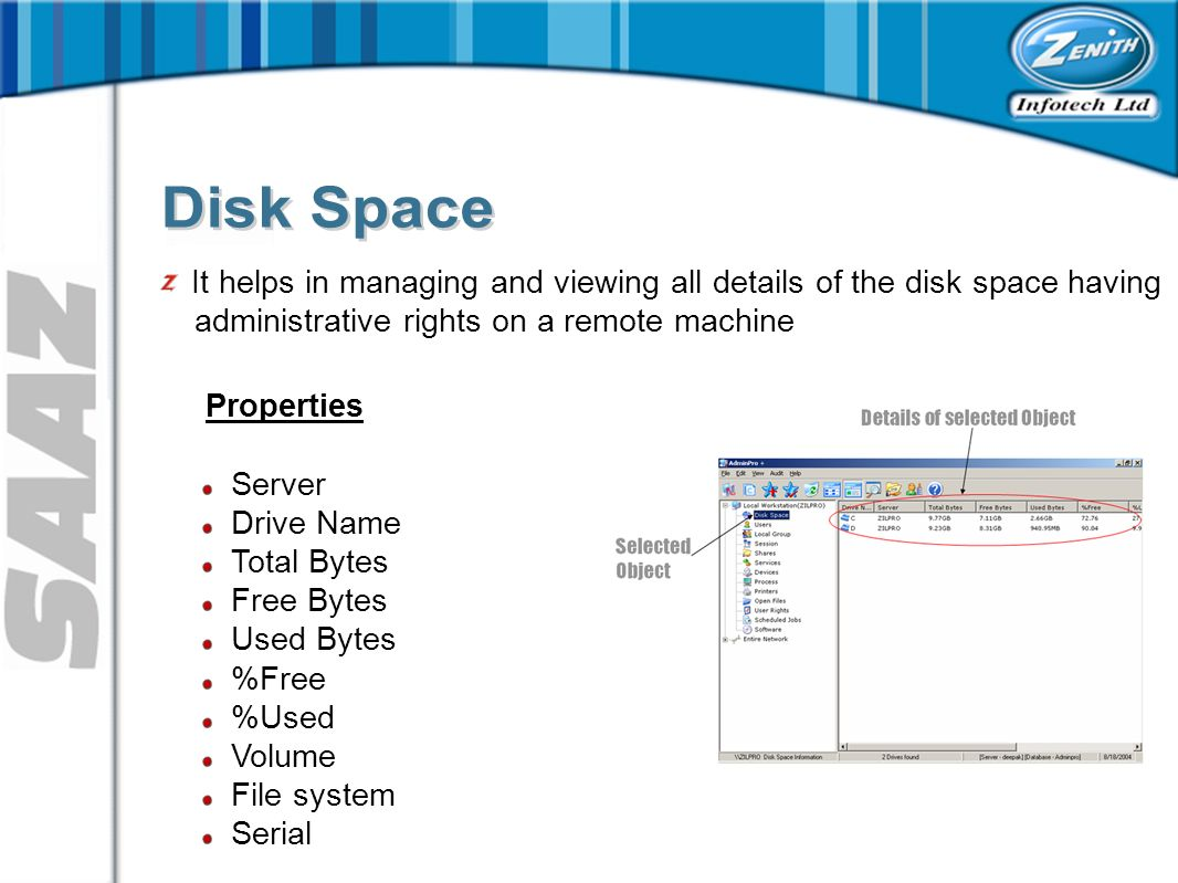 It helps in managing and viewing all details of the disk space having administrative rights on a remote machine Properties Server Drive Name Total Bytes Free Bytes Used Bytes %Free %Used Volume File system Serial