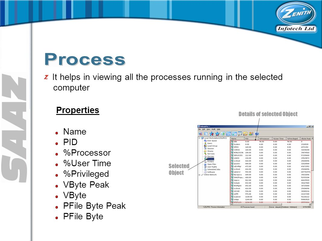It helps in viewing all the processes running in the selected computer Properties Name PID %Processor %User Time %Privileged VByte Peak VByte PFile Byte Peak PFile Byte