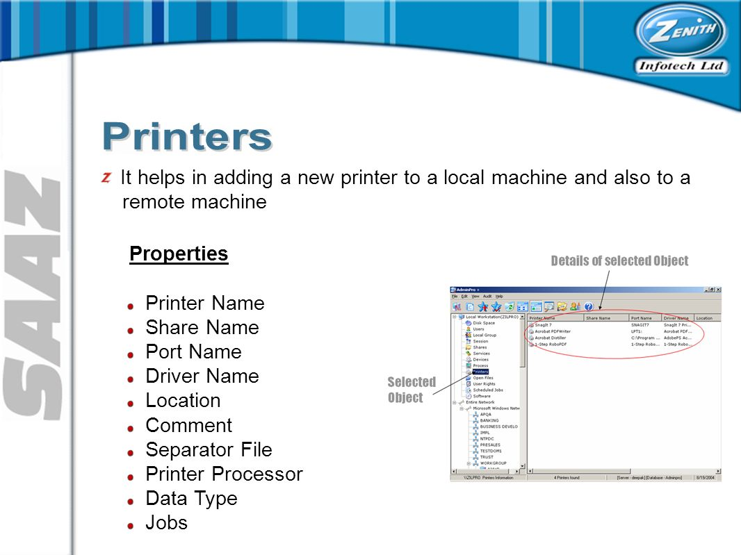 It helps in adding a new printer to a local machine and also to a remote machine Properties Printer Name Share Name Port Name Driver Name Location Comment Separator File Printer Processor Data Type Jobs