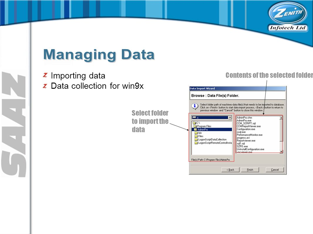 Importing data Data collection for win9x