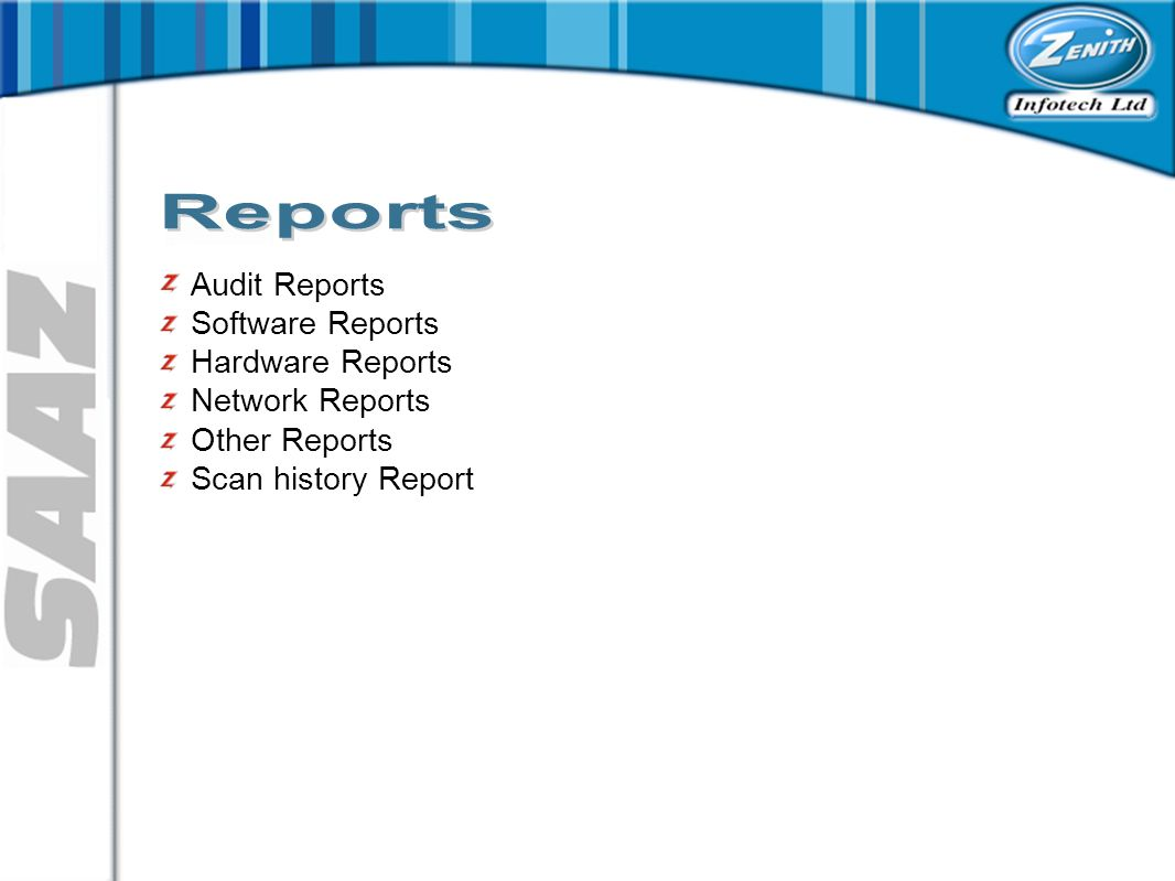 Audit Reports Software Reports Hardware Reports Network Reports Other Reports Scan history Report