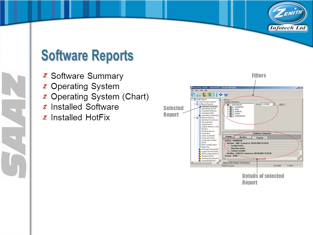 Software Summary Operating System Operating System (Chart) Installed Software Installed HotFix