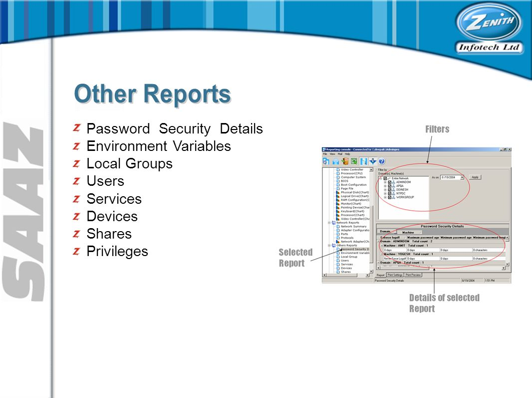 Password Security Details Environment Variables Local Groups Users Services Devices Shares Privileges