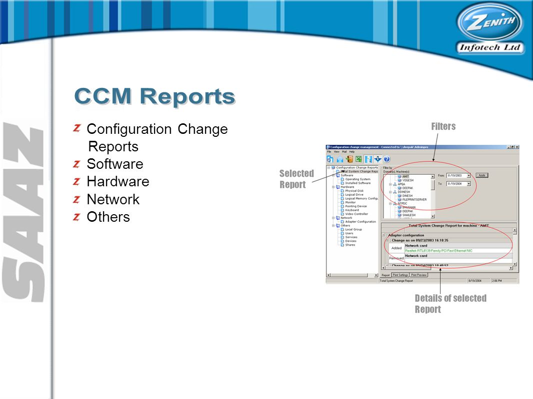 Configuration Change Reports Software Hardware Network Others
