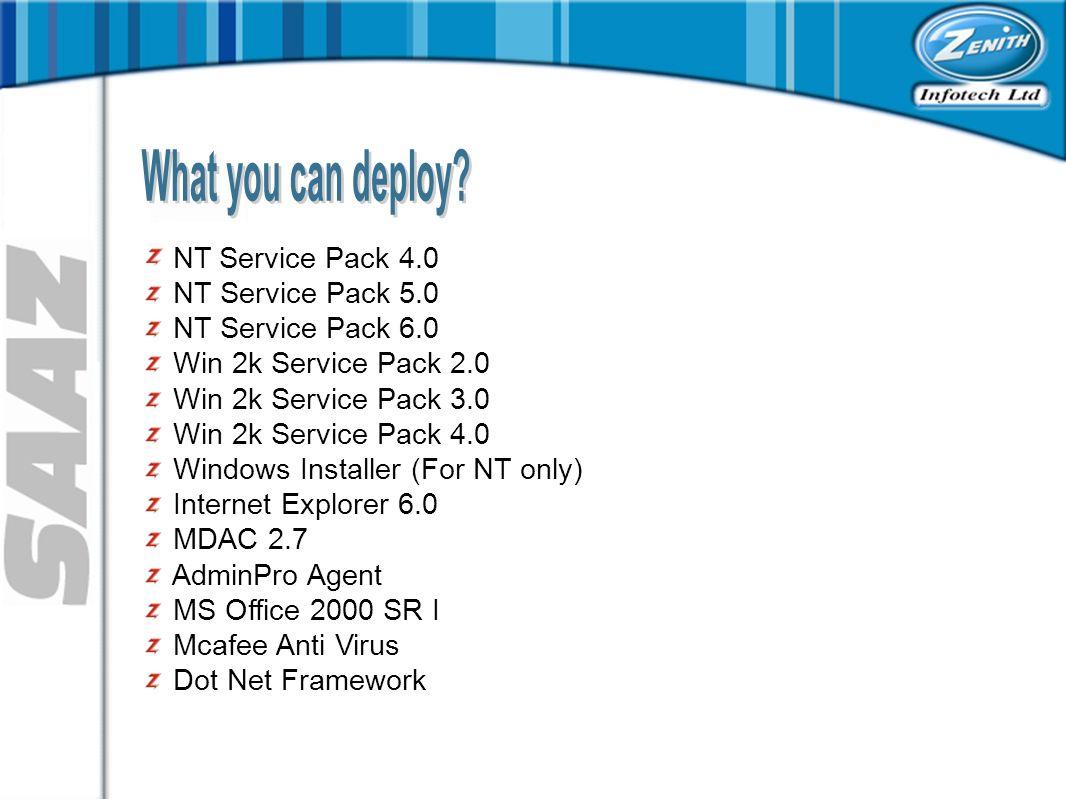 NT Service Pack 4.0 NT Service Pack 5.0 NT Service Pack 6.0 Win 2k Service Pack 2.0 Win 2k Service Pack 3.0 Win 2k Service Pack 4.0 Windows Installer (For NT only) Internet Explorer 6.0 MDAC 2.7 AdminPro Agent MS Office 2000 SR I Mcafee Anti Virus Dot Net Framework