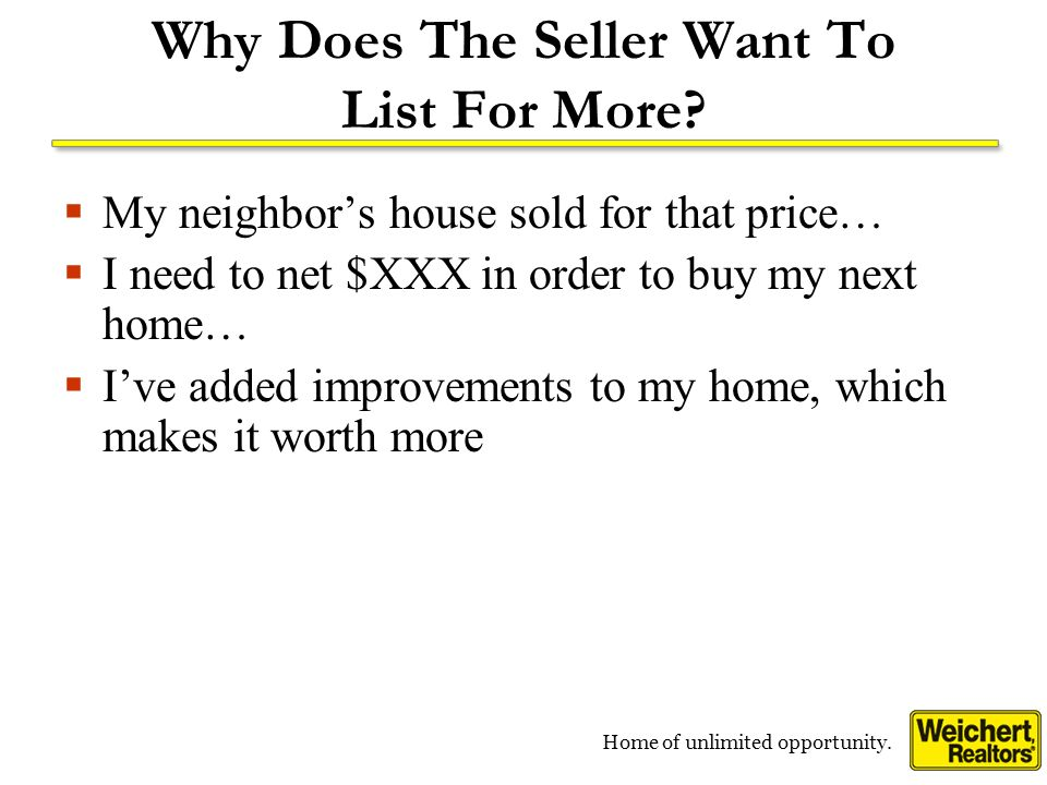 Home of unlimited opportunity. Why Does The Seller Want To List For More.