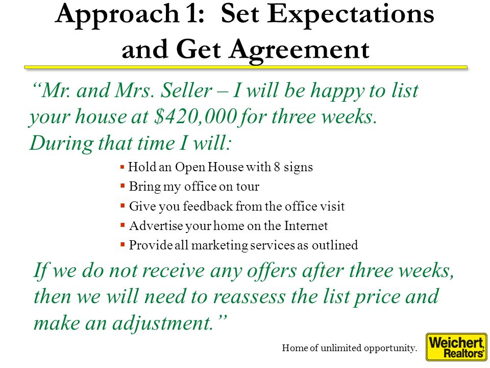 Home of unlimited opportunity. Approach 1: Set Expectations and Get Agreement Hold an Open House with 8 signs Bring my office on tour Give you feedbac