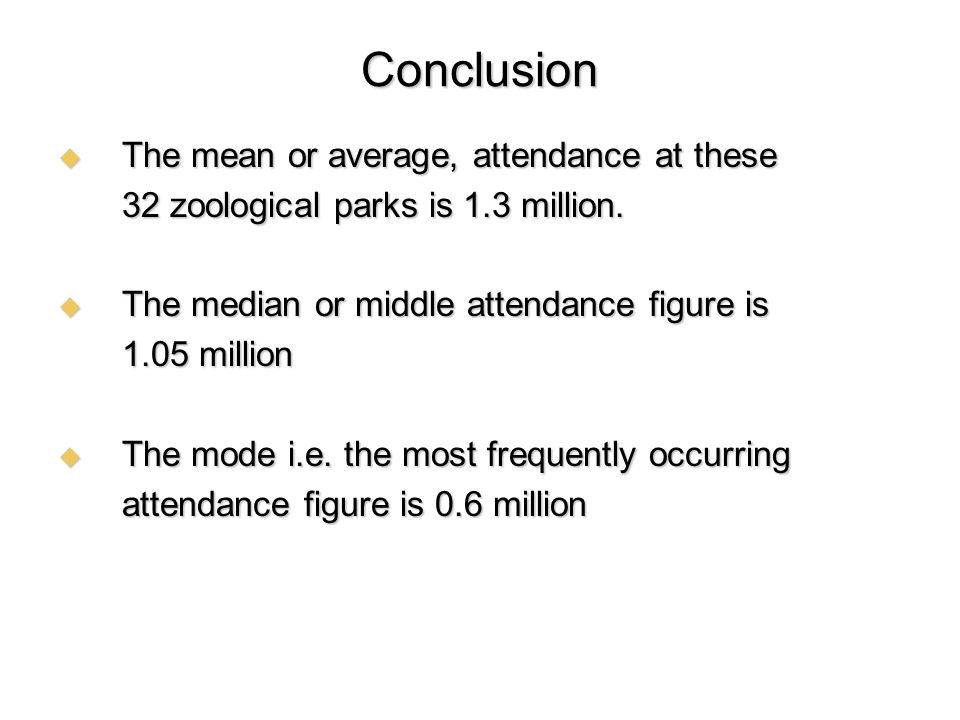 Conclusion The mean or average, attendance at these The mean or average, attendance at these 32 zoological parks is 1.3 million. The median or middle