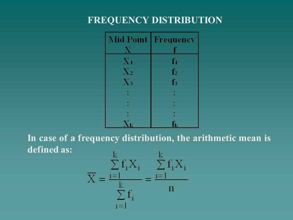 FREQUENCY DISTRIBUTION In case of a frequency distribution, the arithmetic mean is defined as: