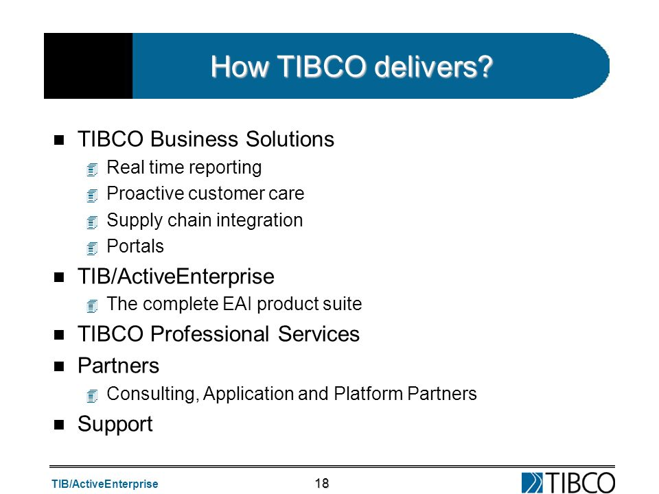 TIB/ActiveEnterprise 18 How TIBCO delivers? n TIBCO Business Solutions 4 Real time reporting 4 Proactive customer care 4 Supply chain integration 4 Po