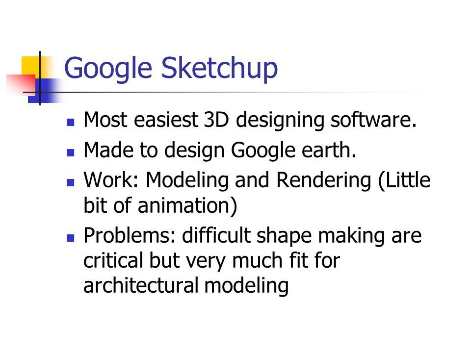 Google Sketchup Most easiest 3D designing software.