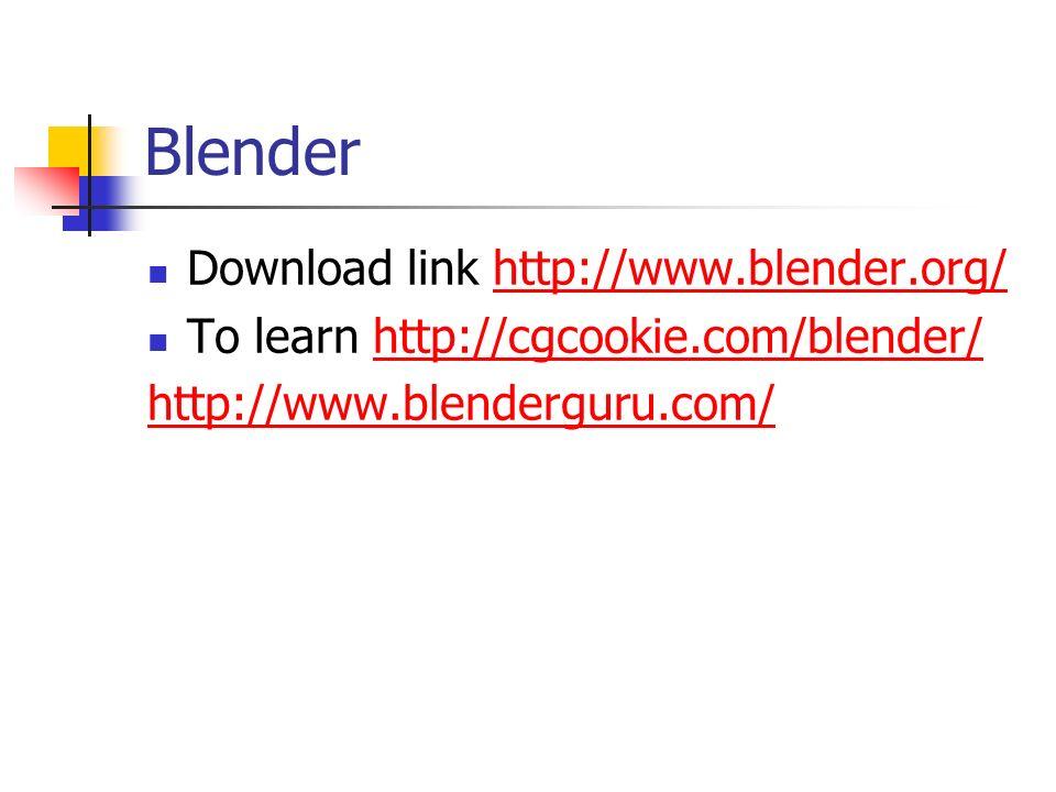 Blender Download link http://www.blender.org/http://www.blender.org/ To learn http://cgcookie.com/blender/http://cgcookie.com/blender/ http://www.blenderguru.com/