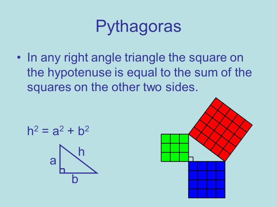 Pythagoras In any right angle triangle the square on the hypotenuse is equal to the sum of the squares on the other two sides. h 2 = a 2 + b 2 h a b