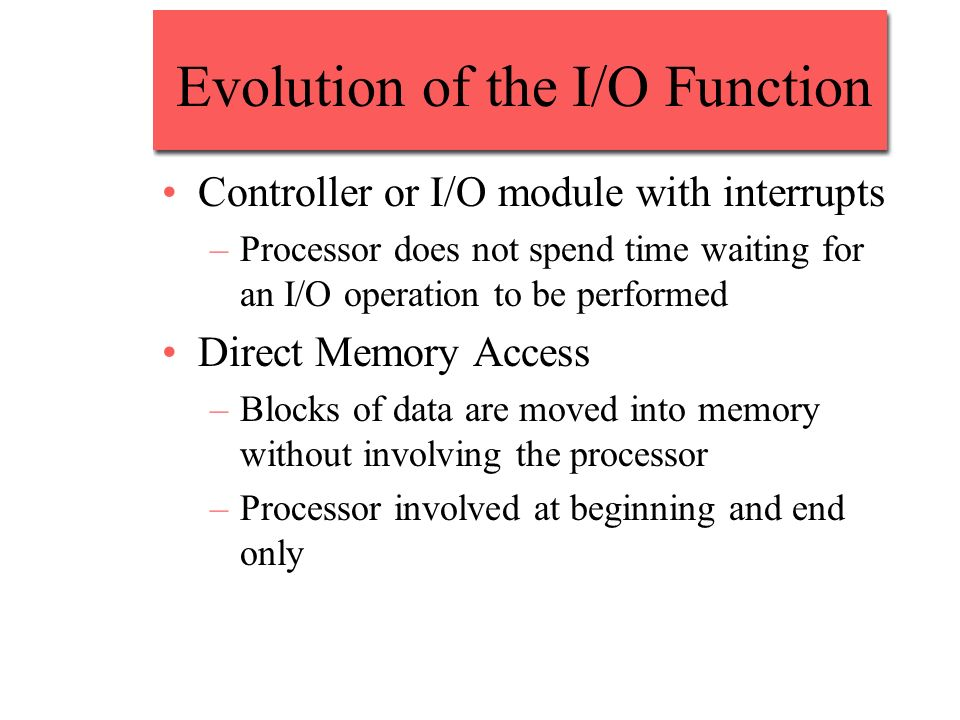 Evolution of the I/O Function Controller or I/O module with interrupts –Processor does not spend time waiting for an I/O operation to be performed Dir