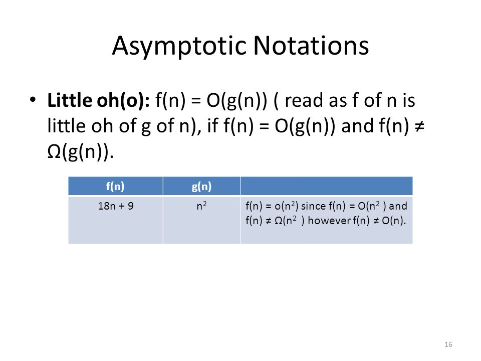 Asymptotic Notations Little oh(o): f(n) = O(g(n)) ( read as f of n is little oh of g of n), if f(n) = O(g(n)) and f(n) Ω(g(n)). 16 f(n)g(n) 18n + 9n2n