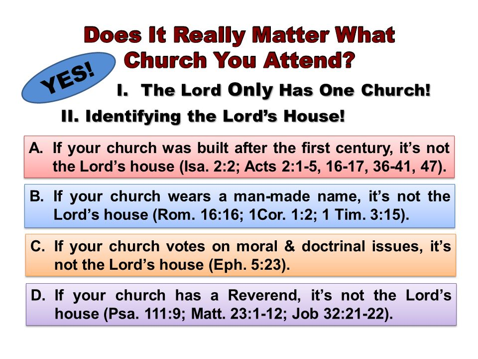 YES. I.The Lord Only Has One Church. II.Identifying the Lords House.