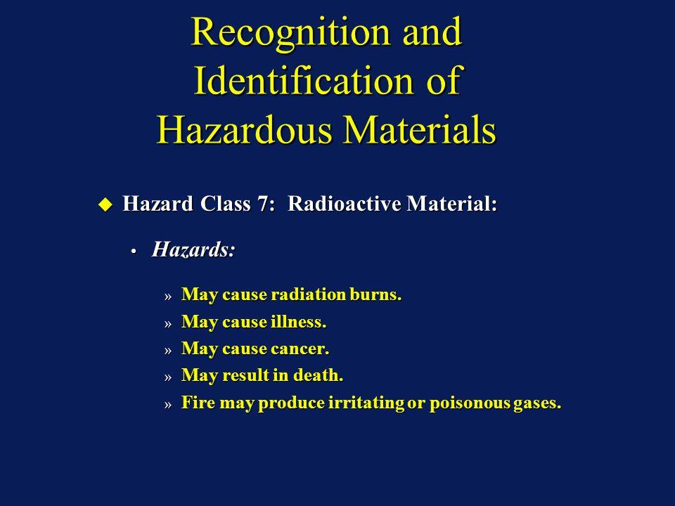 Recognition and Identification of Hazardous Materials Hazard Class 7: Radioactive Material: Hazard Class 7: Radioactive Material: Hazards: Hazards: » May cause radiation burns.