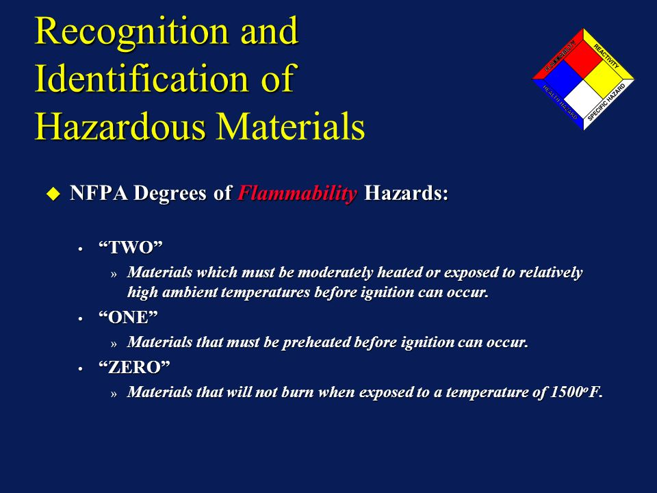 Recognition and Identification of Hazardous Recognition and Identification of Hazardous Materials NFPA Degrees of Flammability Hazards: NFPA Degrees of Flammability Hazards: TWO TWO » Materials which must be moderately heated or exposed to relatively high ambient temperatures before ignition can occur.