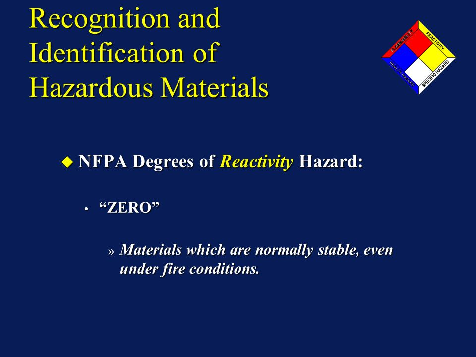 Recognition and Identification of Hazardous Materials NFPA Degrees of Reactivity Hazard: NFPA Degrees of Reactivity Hazard: ZERO ZERO » Materials whic