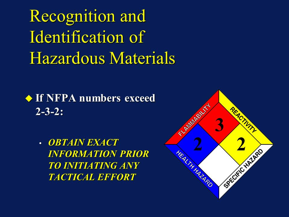 Recognition and Identification of Hazardous Materials If NFPA numbers exceed 2-3-2: If NFPA numbers exceed 2-3-2: OBTAIN EXACT INFORMATION PRIOR TO IN