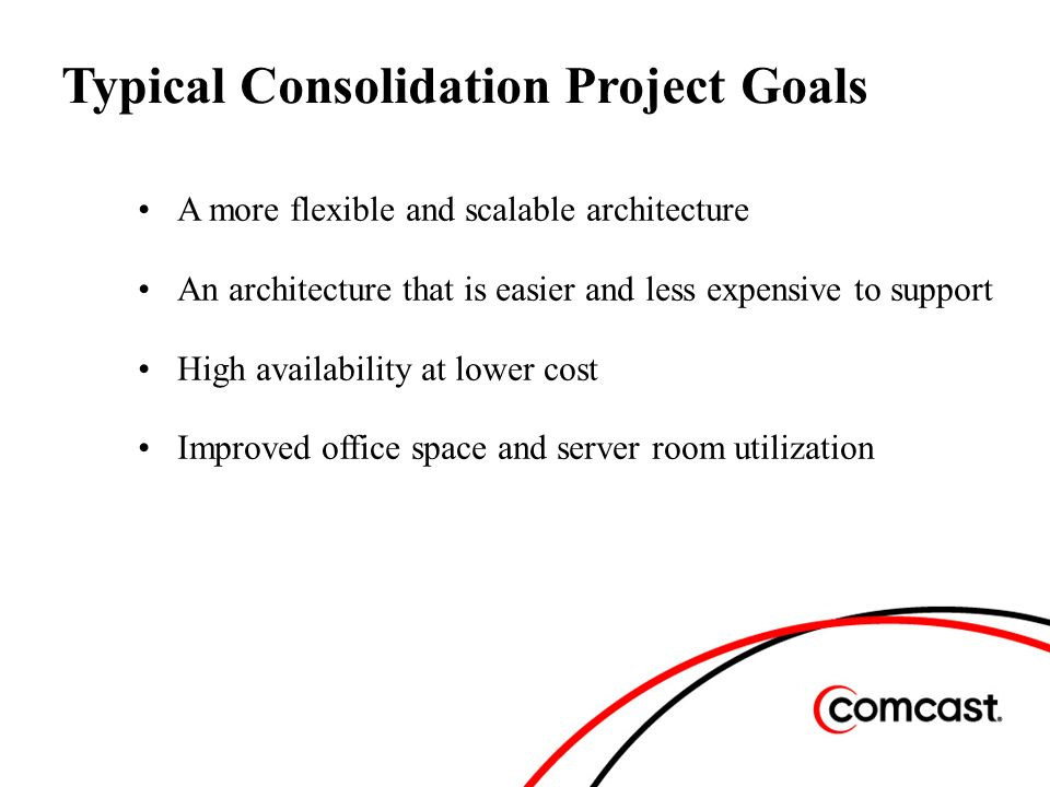Typical Consolidation Project Goals A more flexible and scalable architecture An architecture that is easier and less expensive to support High availability at lower cost Improved office space and server room utilization