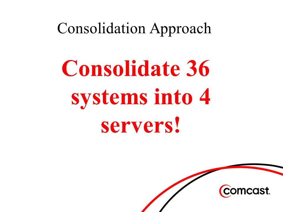 Consolidation Approach Consolidate 36 systems into 4 servers!