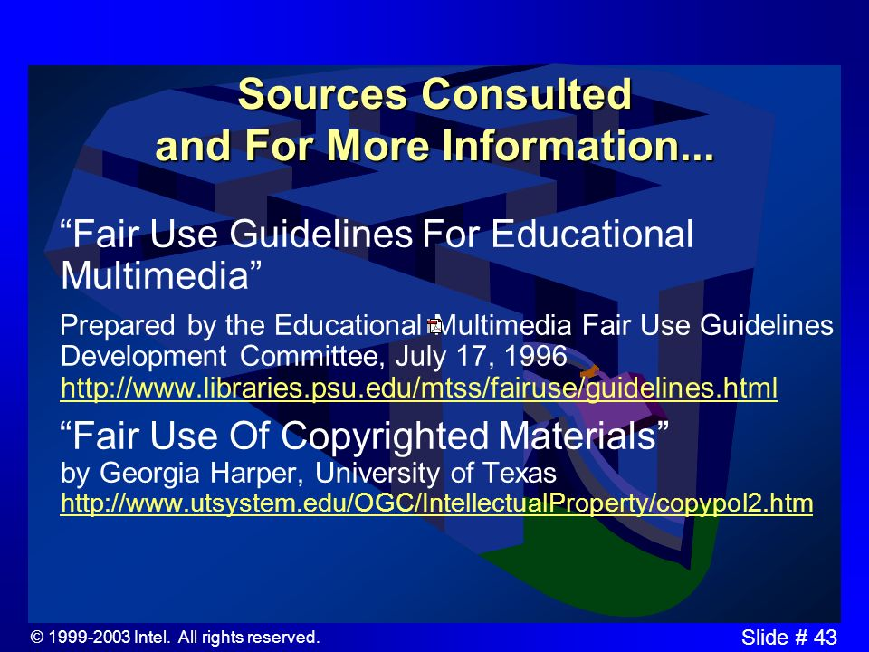 © 1999-2003 Intel. All rights reserved. Slide # 42