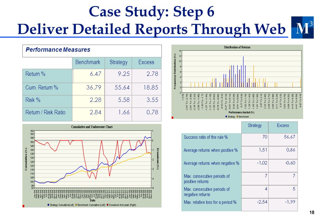18 Case Study: Step 6 Deliver Detailed Reports Through Web Performance Measures Benchmark Strategy Return % 6.47 9.25 Cum.