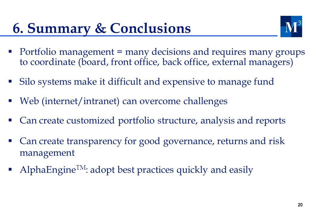 20 6. Summary & Conclusions Portfolio management = many decisions and requires many groups to coordinate (board, front office, back office, external m
