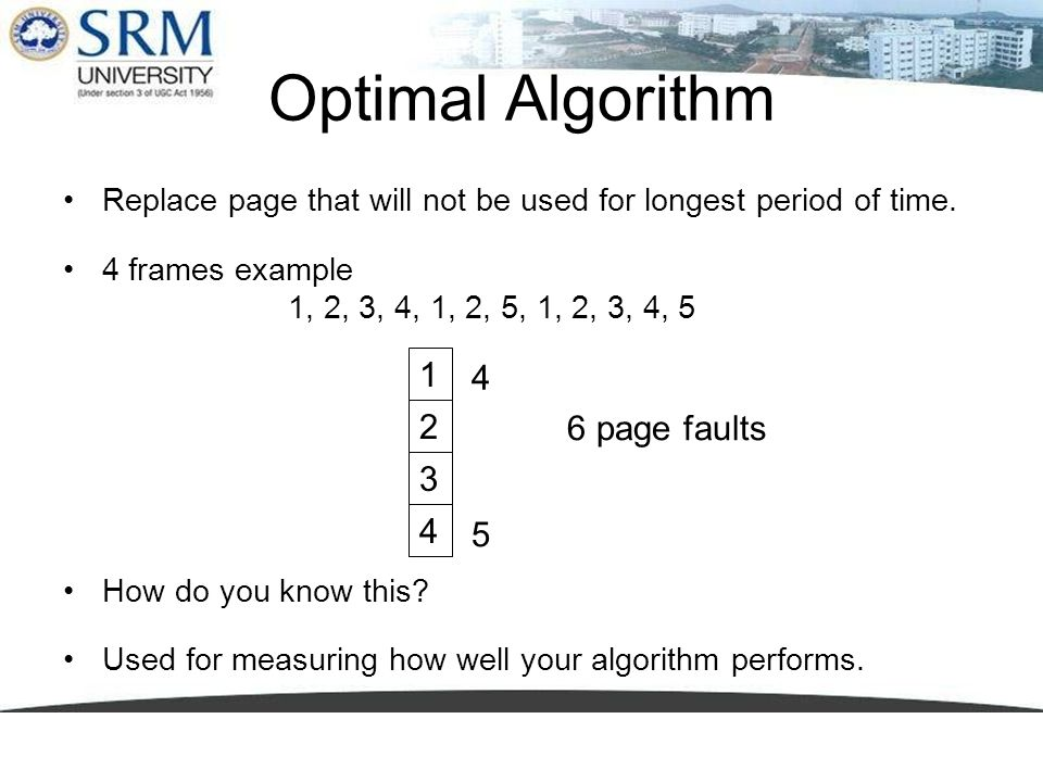Optimal Algorithm Replace page that will not be used for longest period of time. 4 frames example 1, 2, 3, 4, 1, 2, 5, 1, 2, 3, 4, 5 How do you know t