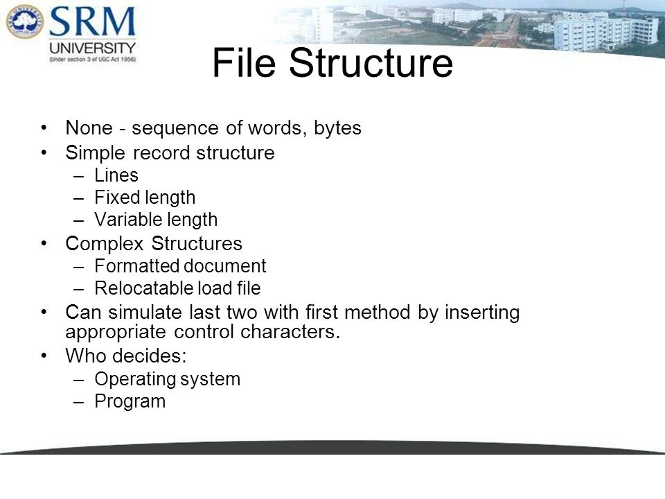 File Structure None - sequence of words, bytes Simple record structure –Lines –Fixed length –Variable length Complex Structures –Formatted document –R
