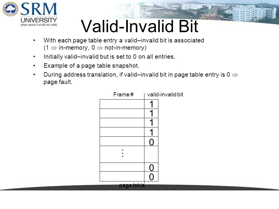 Valid-Invalid Bit With each page table entry a valid–invalid bit is associated (1 in-memory, 0 not-in-memory) Initially valid–invalid but is set to 0