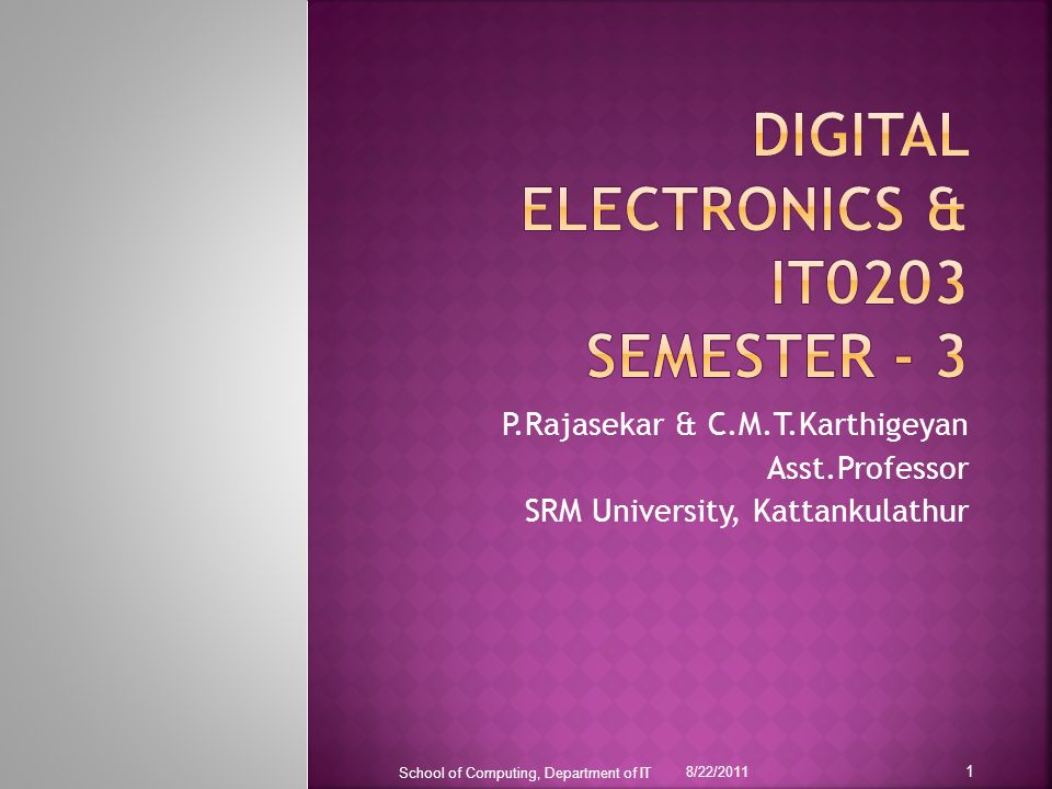 The contents of the slides are solely for the purpose of teaching students at SRM University.