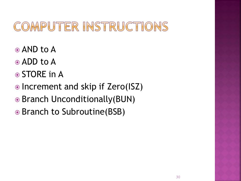 30 AND to A ADD to A STORE in A Increment and skip if Zero(ISZ) Branch Unconditionally(BUN) Branch to Subroutine(BSB)