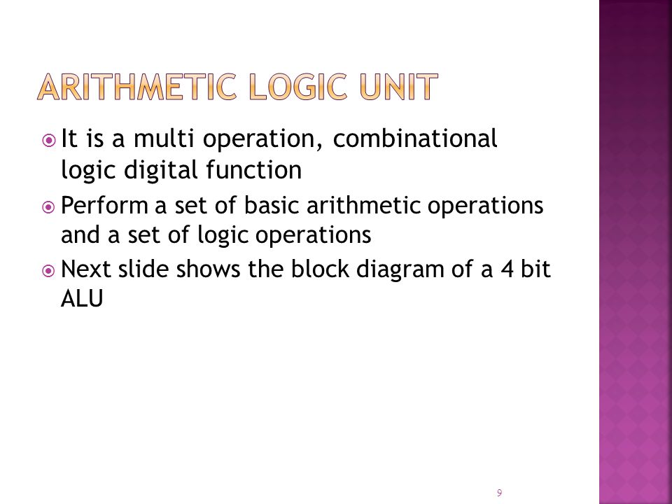 It is a multi operation, combinational logic digital function Perform a set of basic arithmetic operations and a set of logic operations Next slide sh