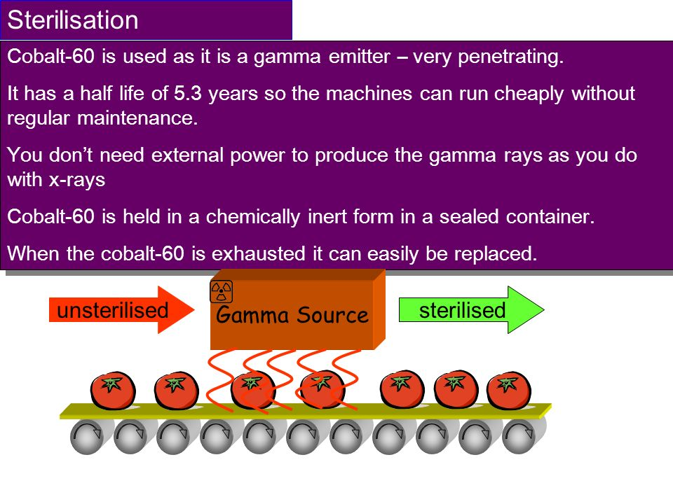 Sterilisation Cobalt-60 is used as it is a gamma emitter – very penetrating. It has a half life of 5.3 years so the machines can run cheaply without r
