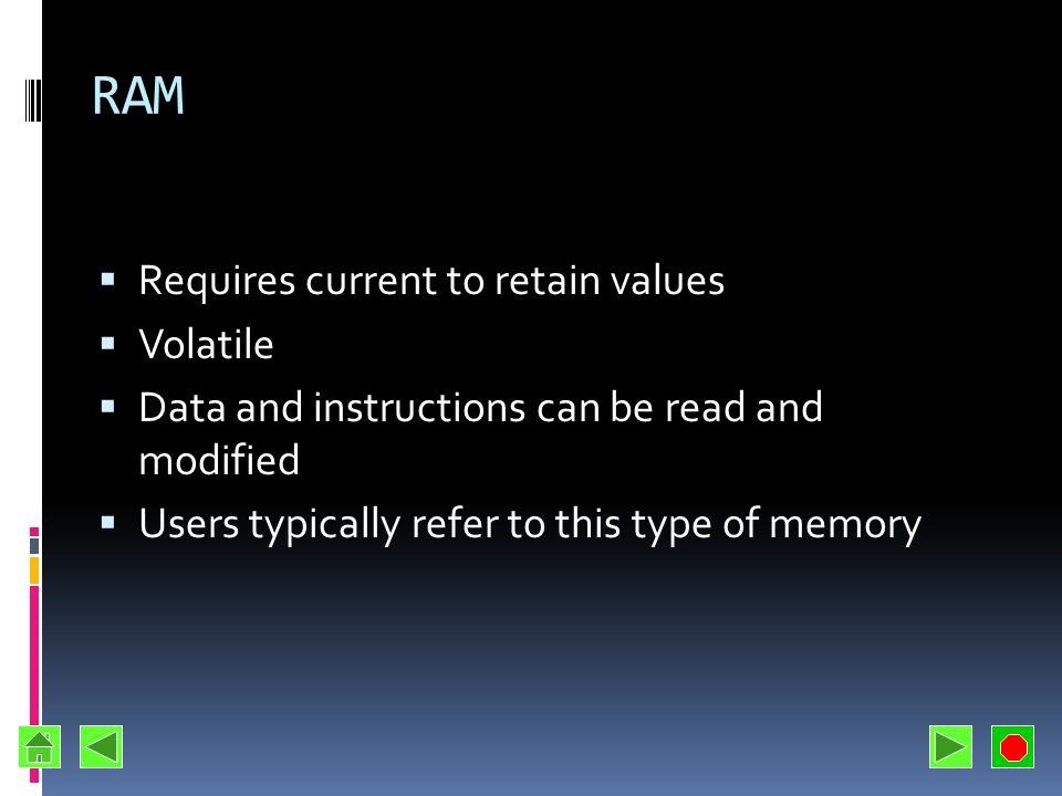 Main Types of Memory RAM Random Access Memory ROM Read Only Memory