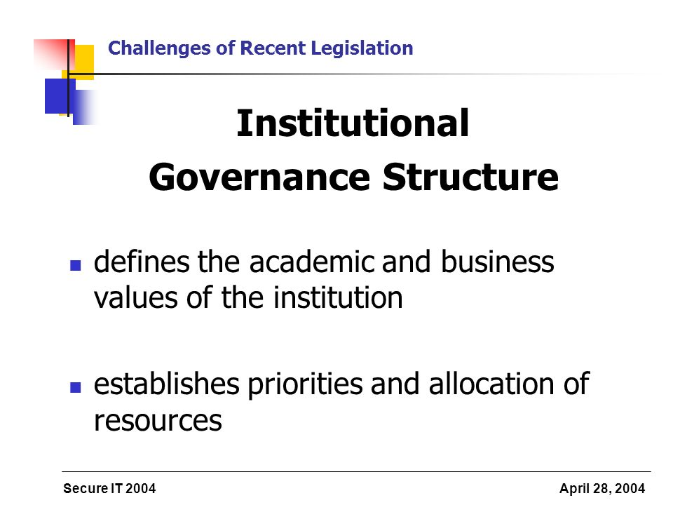 Secure IT 2004 April 28, 2004 Challenges of Recent Legislation Institutional Governance Structure defines the academic and business values of the inst