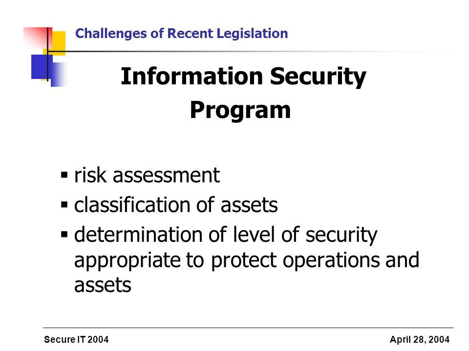 Secure IT 2004 April 28, 2004 Challenges of Recent Legislation Information Security Program risk assessment classification of assets determination of