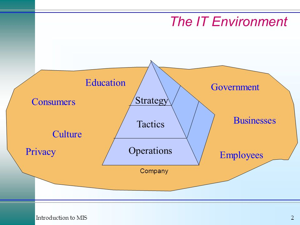 Introduction to MIS2 Operations Tactics Strategy Government Consumers Employees Culture Businesses Privacy Education Company The IT Environment