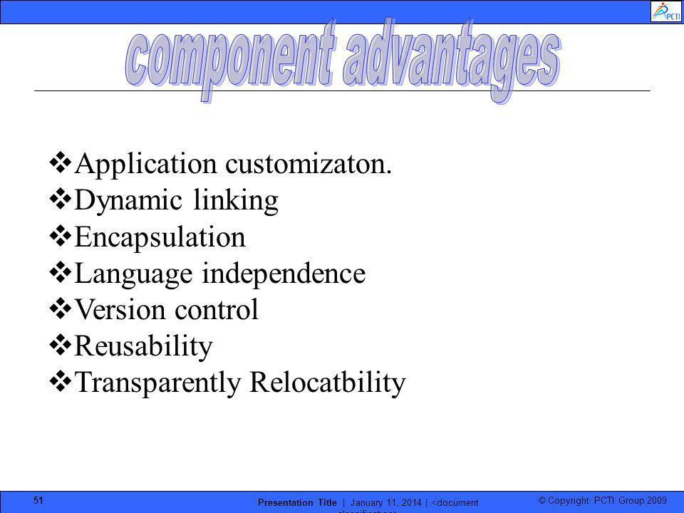 © Copyright PCTI Group 2009 Presentation Title | January 11, 2014 | 51 Application customizaton. Dynamic linking Encapsulation Language independence V