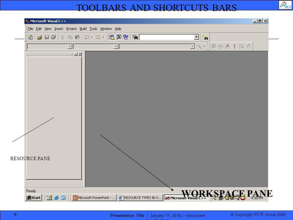 © Copyright PCTI Group 2009 Presentation Title | January 11, 2014 | 8 RESOURCE PANE WORKSPACE PANE TOOLBARS AND SHORTCUTS BARS